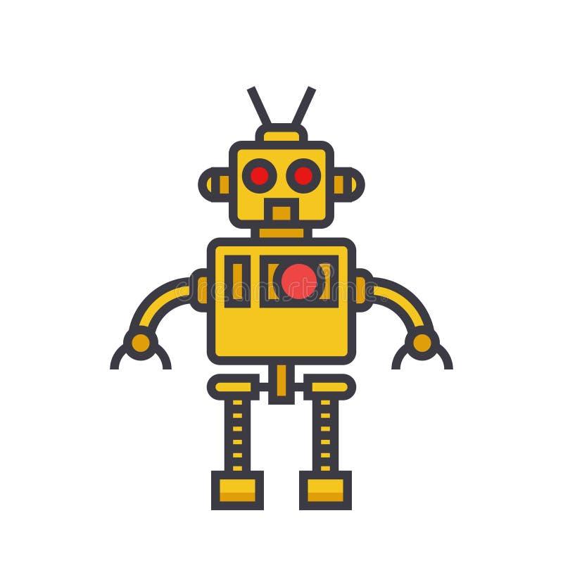 Kühles flaches Zeilendarstellung, Konzeptvektor des Roboters lokalisierte Ikone stock abbildung