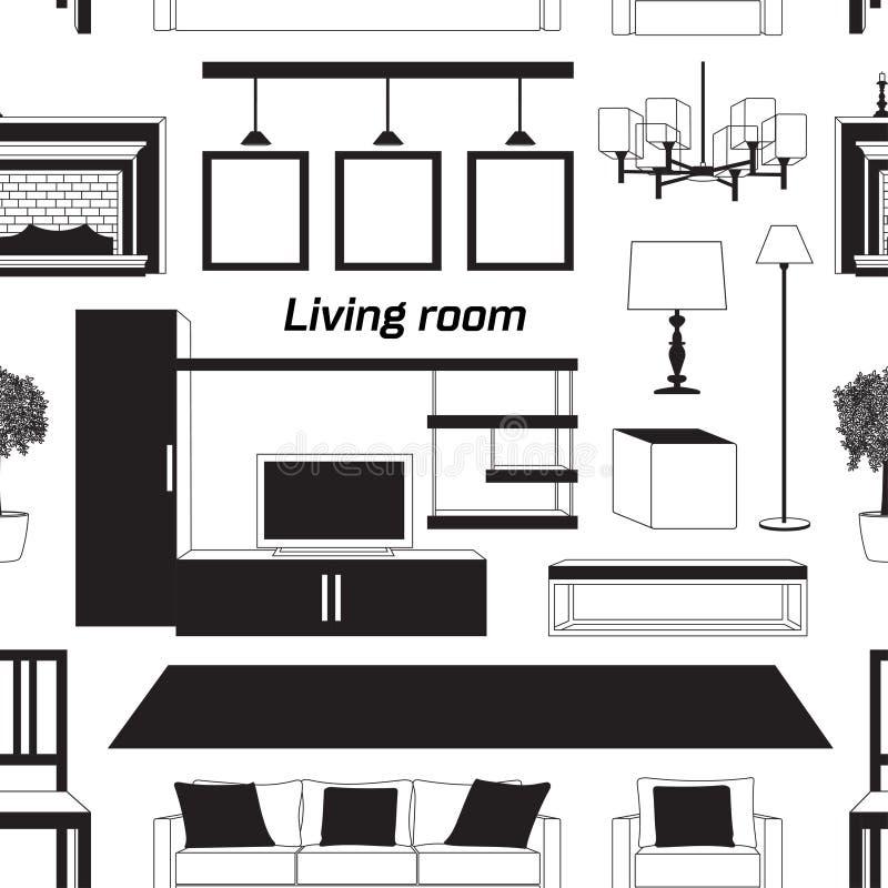 Kühles grafisches Wohnzimmermuster stock abbildung
