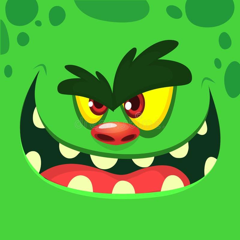 Kühles Karikatur-Grün-Monster-Gesicht Vector Halloween-Illustration des aufgeregten Zombiemonsters mit breitem Lächeln stock abbildung