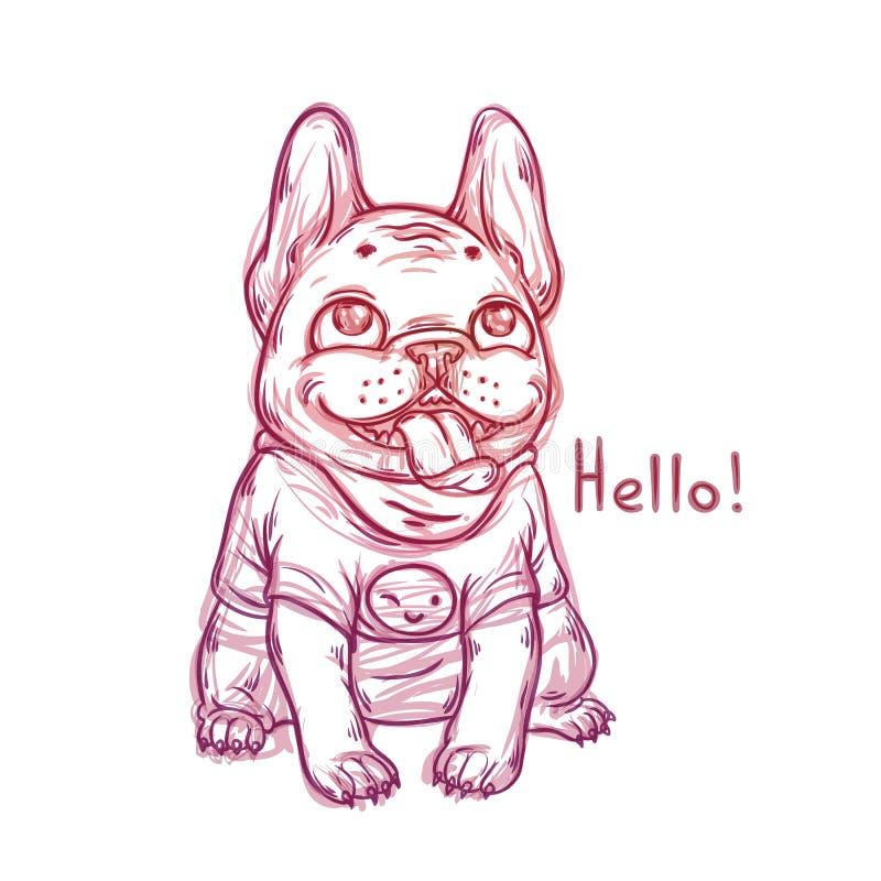 Kühles Skizzenporträt des tragenden T-Shirts der französischen Bulldogge mit einem Lächeln emoji vektor abbildung