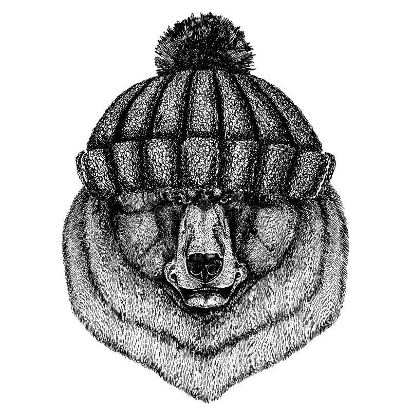 Kühles Tier des schwarzen Bären, das gestrickten Winterhut trägt Warme Kopfschmuck Beanie Weihnachtskappe für Tätowierung, T-Shir vektor abbildung
