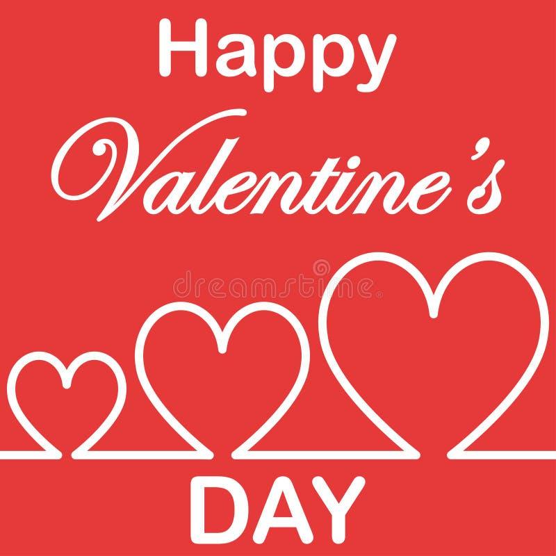 Kühles Valentine' Herz der s-Tagespostkarte drei vektor abbildung
