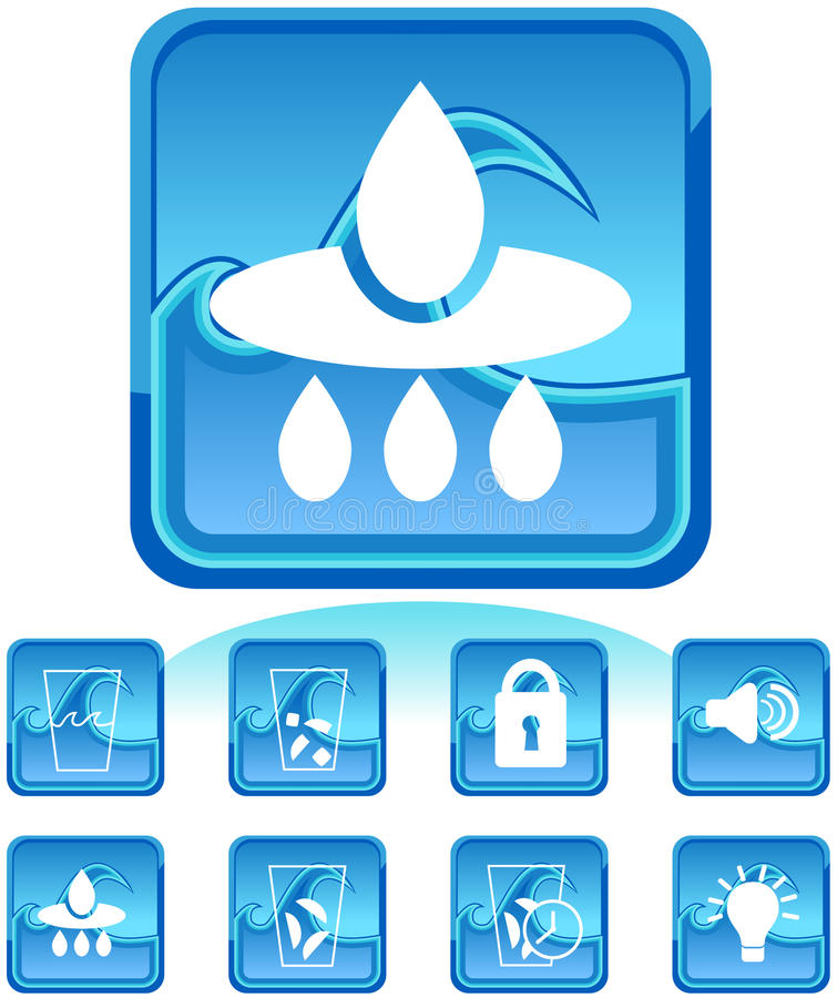 Kühlraum-Ikonen: Blaues Wellen-Set lizenzfreie abbildung