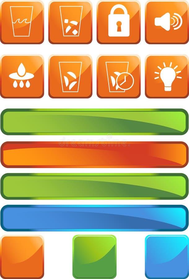 Kühlraum-Ikonen: Quadrat-Set lizenzfreie abbildung