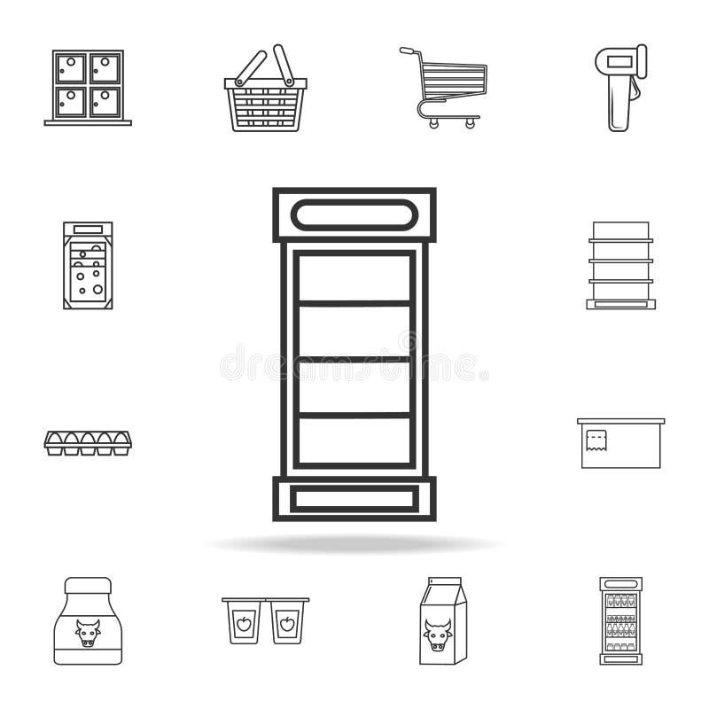 Kühlschrank für Getränkikone Ausführlicher Satz Shops und Grossmarktikonen Erstklassiges Qualitätsgrafikdesign Ein der Sammlung I lizenzfreie abbildung