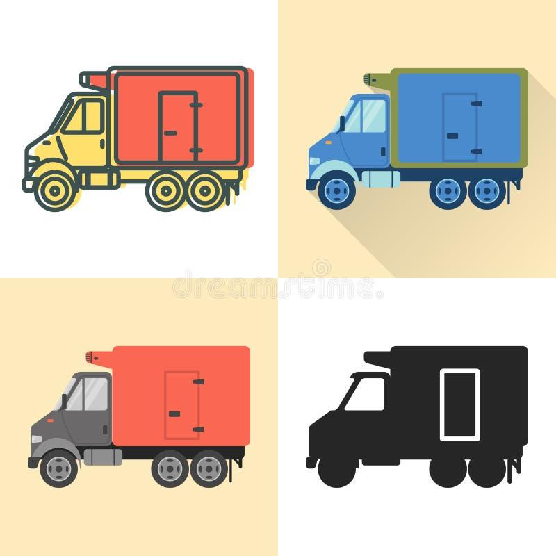 Kühlschrank-LKW-Ikone eingestellt in Ebene und in Linie Arten lizenzfreie abbildung