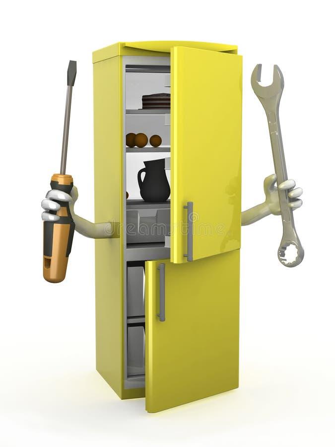 Kühlschrank mit den Armen und den Werkzeugen auf Händen vektor abbildung