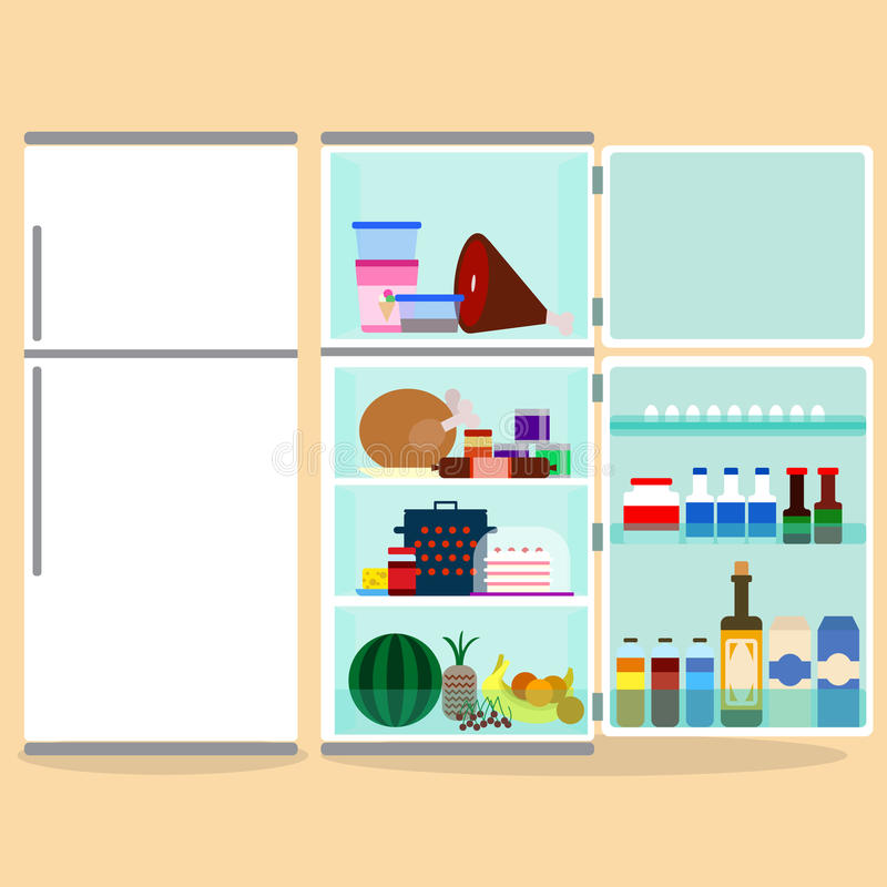 Kühlschrank mit den offenen Türen, voll vom Lebensmittel Flache Illustration des Vektors vektor abbildung