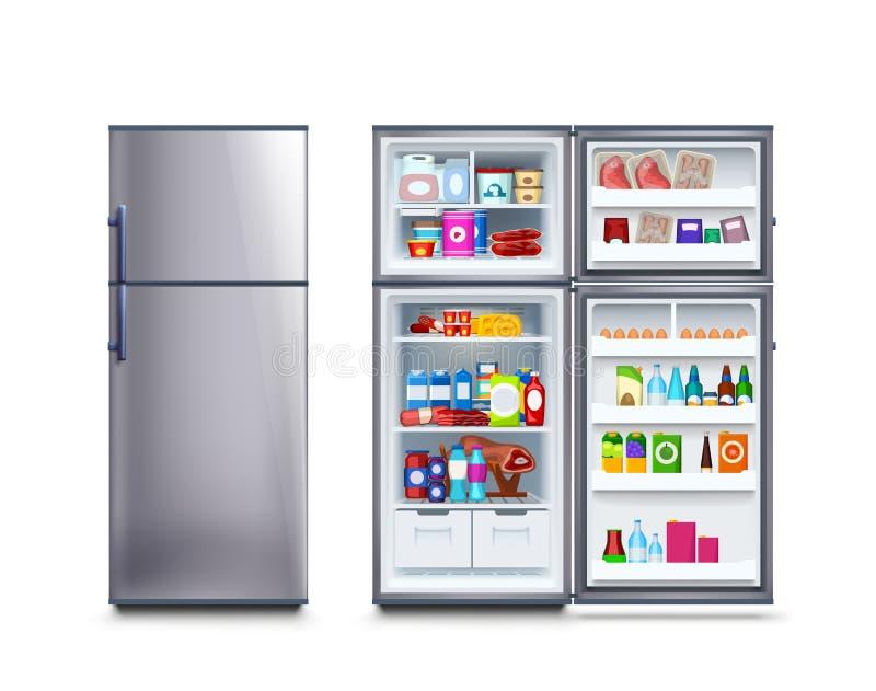 Kühlschrank voll des Lebensmittels stock abbildung