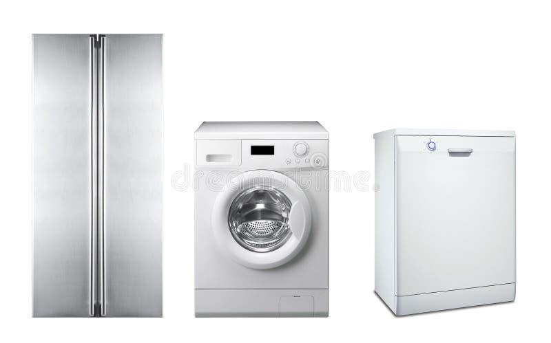 Kühlschrank, Waschmaschine und Spülmaschine stockfotos