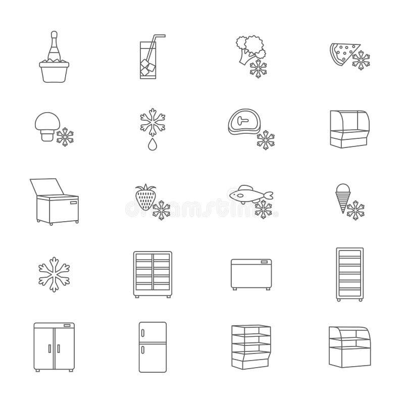 Kühlschrank-Zeichen-Schwarz-dünne Linie Ikonen-Satz Vektor stock abbildung