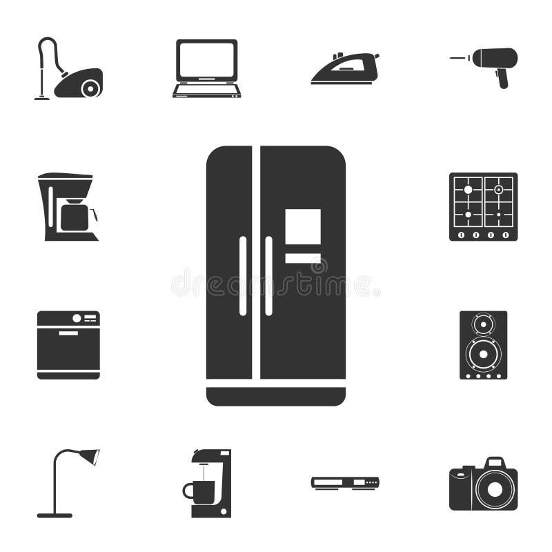 Kühlschrankikone mit zwei Türen Ausführlicher Satz Haushaltsartikelikonen Erstklassiges Qualitätsgrafikdesign Eine der Sammlungsi lizenzfreie abbildung