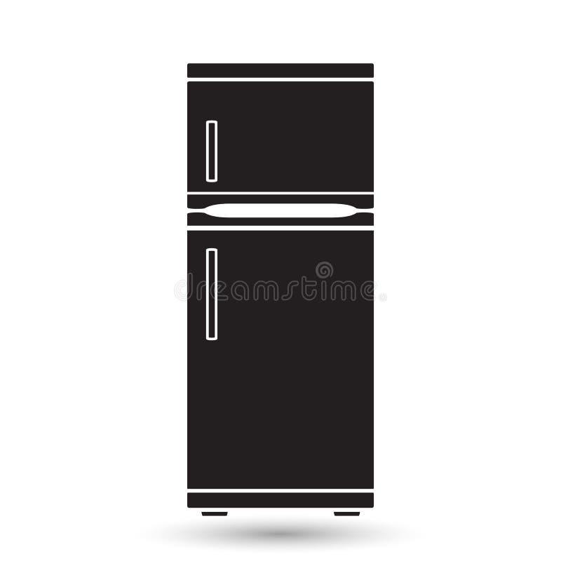 Kühlschrankikonen Ikone eines Kühlschranks im Stil eines flachen Designs lizenzfreie abbildung