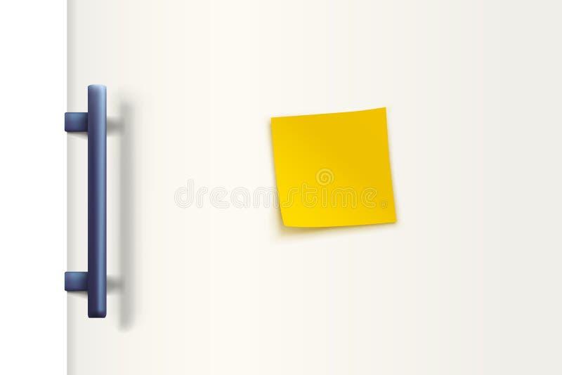 Kühlschranktürweiß mit Papier lizenzfreie abbildung