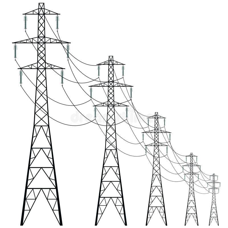 Kühlturm des Vektors des Elektrizitätskraftwerks Konkreter Wärmekraftwerkturm lizenzfreie abbildung