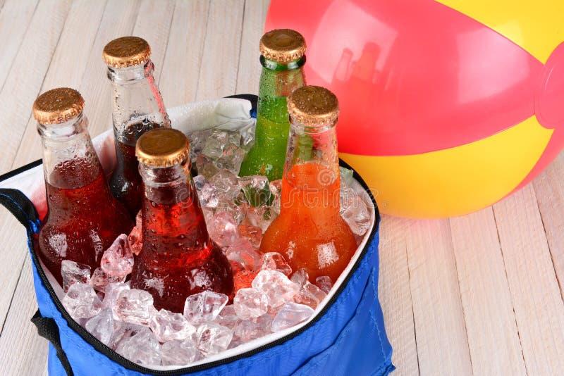 Kühlvorrichtung mit Soda und Beachball stockfotografie