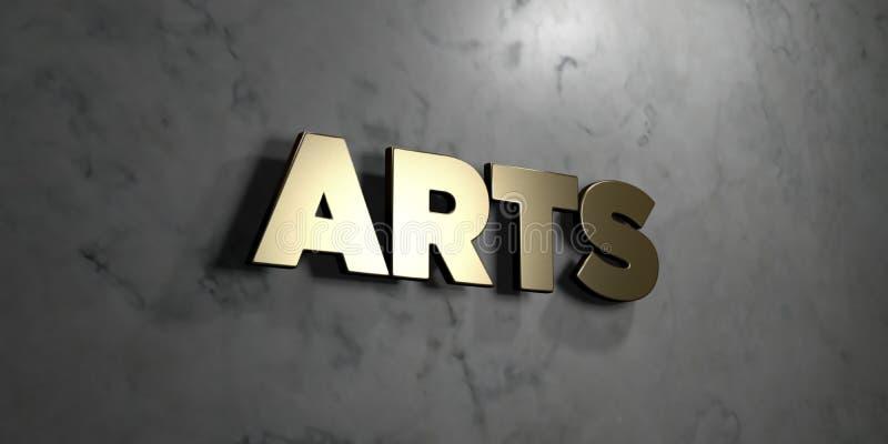 Künste - Goldzeichen angebracht an der glatten Marmorwand - 3D übertrugen freie Illustration der Abgabe auf Lager vektor abbildung