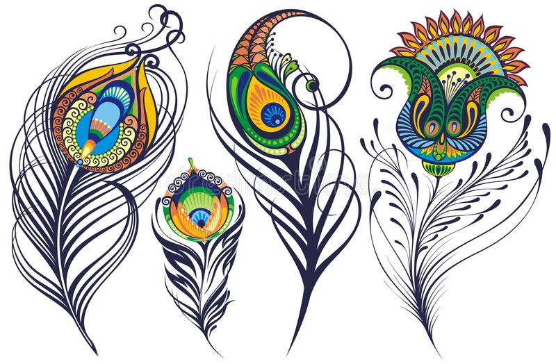 Künste malten Federn eines bunte Pfaus auf einer weißer Hintergrund befleckten Aquarellfarbe lizenzfreie abbildung