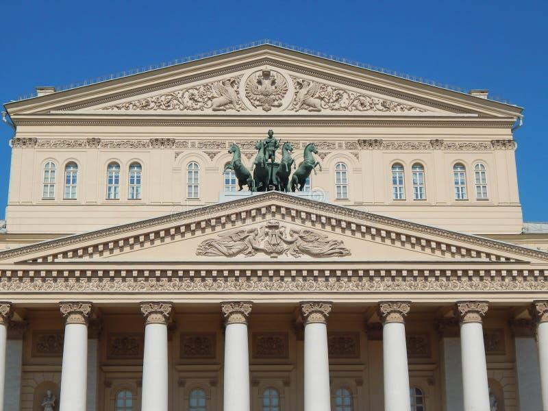 Künste und Architektur Ein Teil der Fassade des Bolshoi-Theaters, Moskau Mai 2014 stockfoto