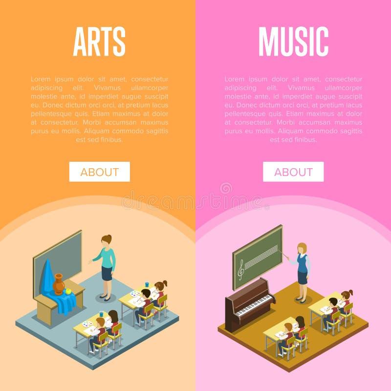 Künste und Musikunterricht in der Schule stock abbildung