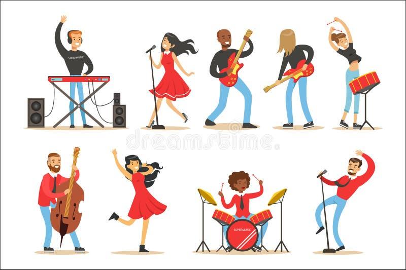 Künstler, die Musik-Instrumente spielen und auf Stadiums-Konzert-Satz Musiker-Karikatur-Vektor-Charakteren singen vektor abbildung