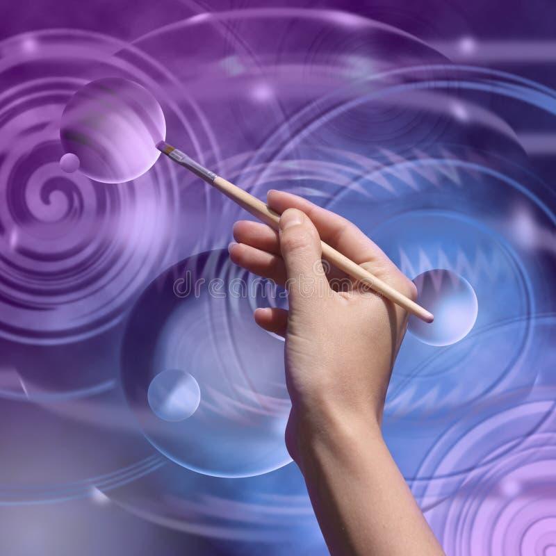 Künstler-Hand mit Pinsel lizenzfreie abbildung