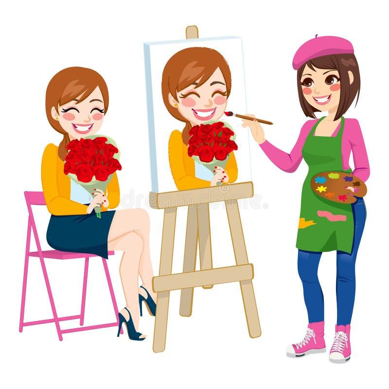 Künstler Painting Portrait stock abbildung