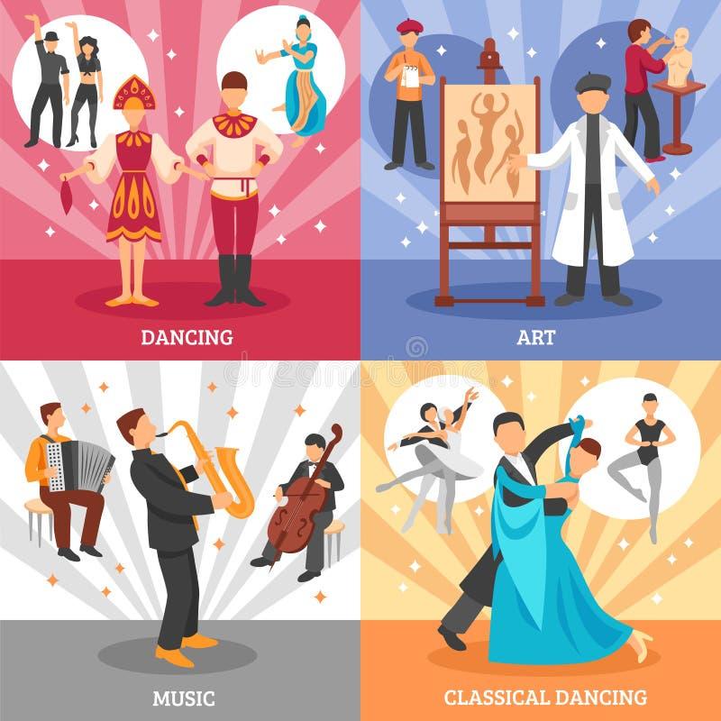 Künstler-People Concept Icons-Satz vektor abbildung