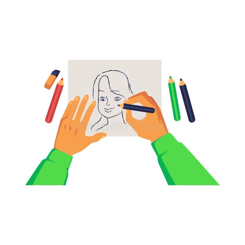 Künstlerhände, die Bleistift halten und Frauenporträt auf Papierkarikaturart zeichnen lizenzfreie abbildung