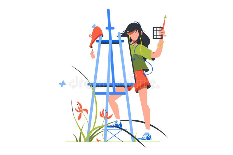 Frau als Malerin mit Pinsel - Buy this stock illustration and explore  similar illustrations at Adobe Stock | Adobe Stock