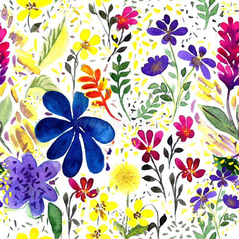 Künstlerisch nahtlose Muster von Aquarellblumen, Blättern, Blüten, Infloreszenzen, Ästen stock abbildung