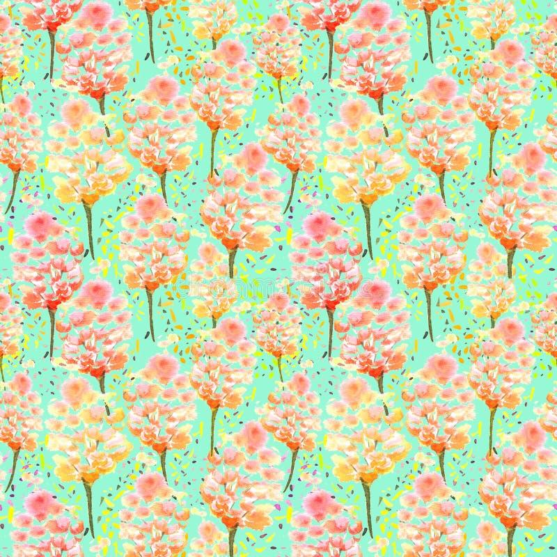 Künstlerisch nahtlose Muster von Aquarellblumen, Blättern, Blüten, Infloreszenzen, Ästen lizenzfreie abbildung
