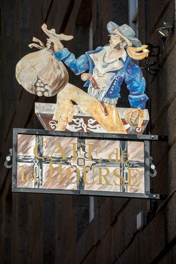 Künstlerisch stilisierte Werbung für das Restaurant in St Malo, Frankreich stockfoto