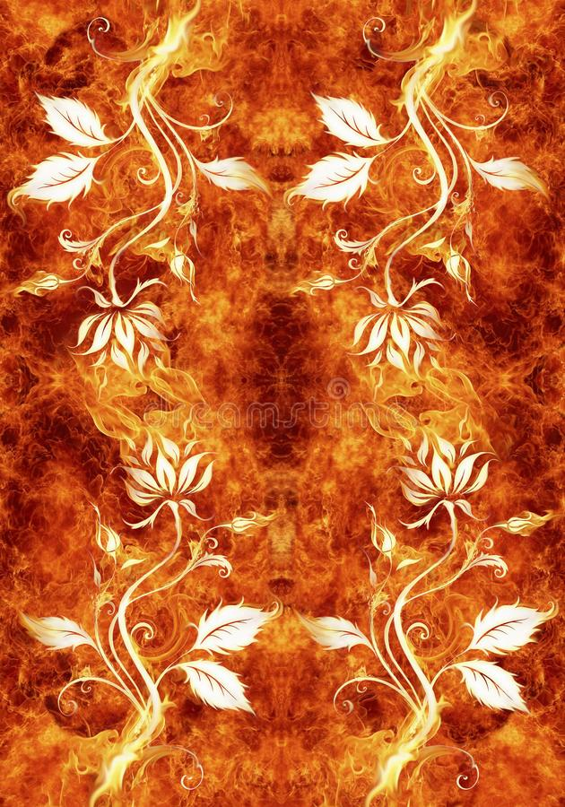 Künstlerische abstrakte blumige Grafik auf einem einzigartigen glühenden brennenden Hintergrund lizenzfreie abbildung