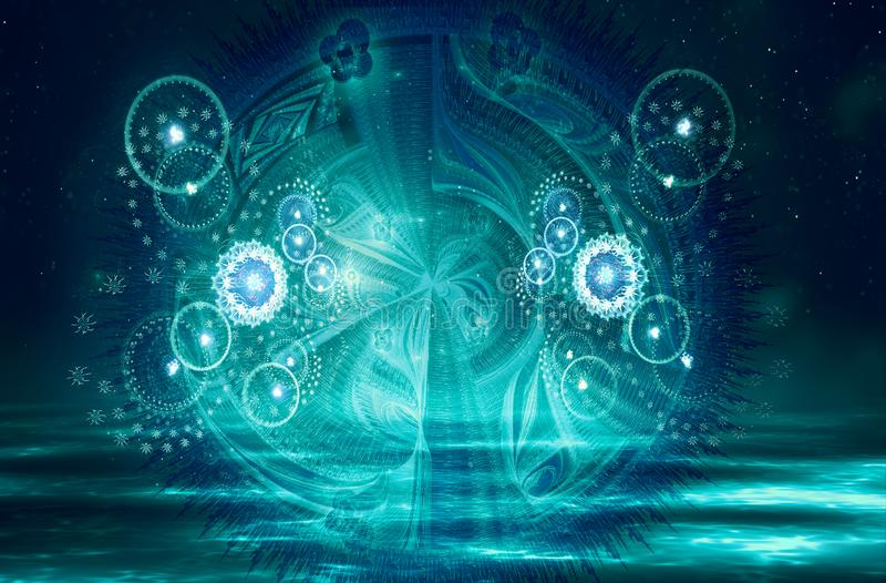 Künstlerische abstrakte Digital-Grafik auf einem glatten bunten Hintergrund vektor abbildung