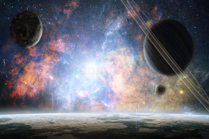 Künstlerische abstrakte Planeten in einem bunten hellen Galaxie-Hintergrund lizenzfreies stockfoto