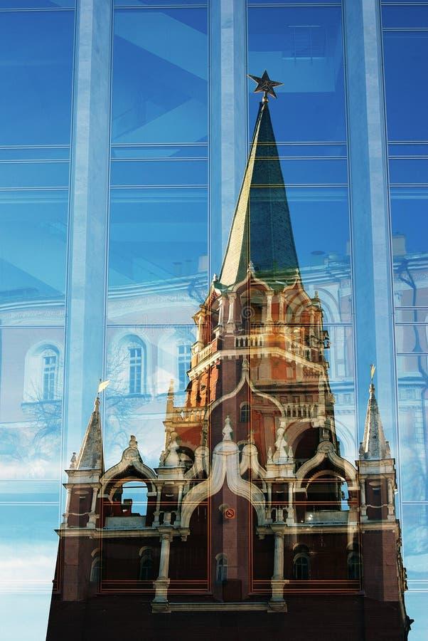 Künstlerische Collage Moskau Kremlin Der meiste populäre Platz in Vietnam lizenzfreie stockfotos