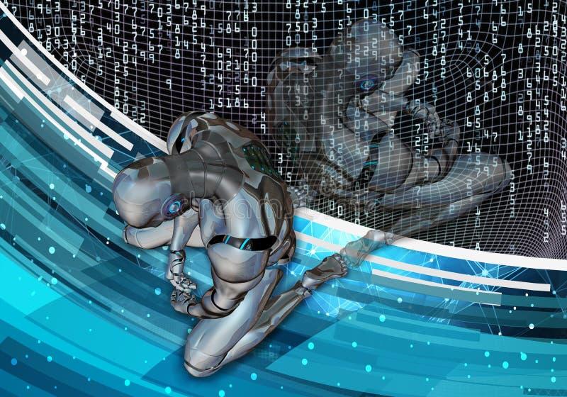 Künstlerische computererzeugte Illustration 3d eines deprimierten künstlichen intelligenten Mannes, der in Niederlage auf einer m lizenzfreie abbildung