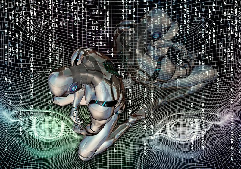 Künstlerische computererzeugte Illustration 3d eines lokalisierten deprimierten Roboters, der in komplette Auslieferung auf moder vektor abbildung