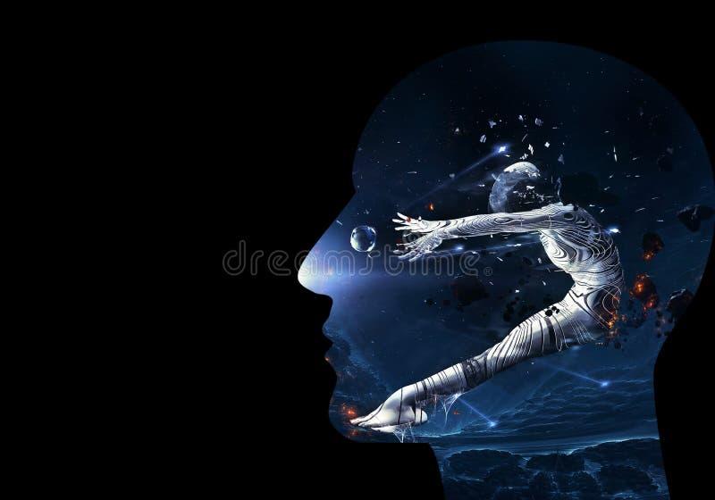 Künstlerische computererzeugte Illustration 3d von einem galaktische Zusammenfassungs-menschlichen künstlichen intelligenten mit  lizenzfreie abbildung