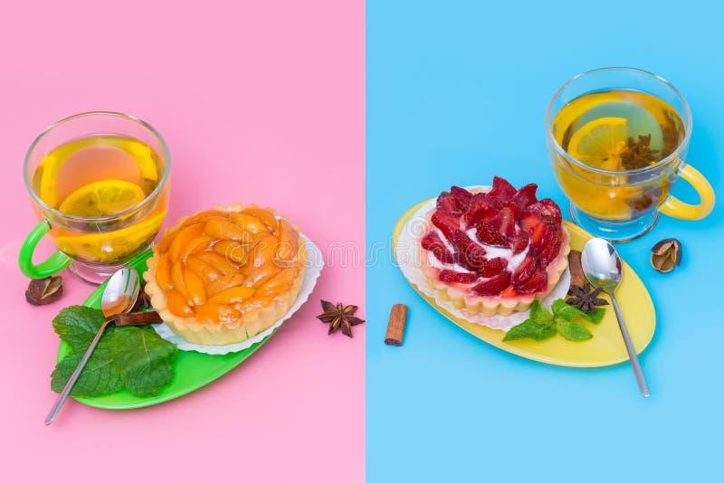 Künstlerische Darstellung des Tee- und Fruchtgebäcks lizenzfreies stockbild
