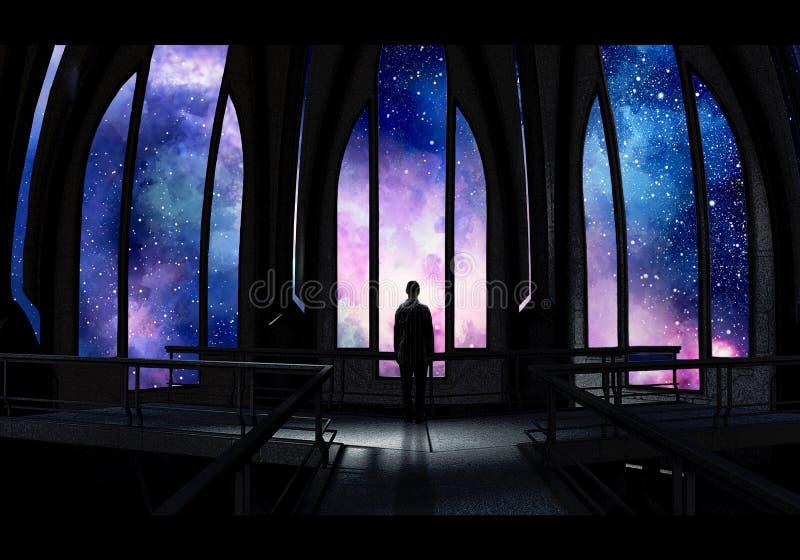 Künstlerische Digital-Farbe eines Stand-allein Mannes in einem Schloss, das eine bunte Nebelfleck-Ansicht-Grafik betrachtet stock abbildung