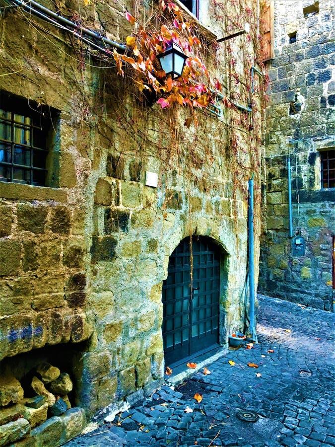 Künstlerische Ecke, roter und gelber Efeu, Lampe und mittelalterliche Wand stockfotos