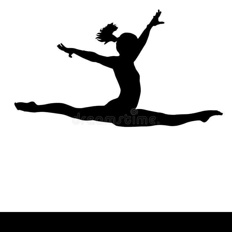 Künstlerische Gymnastik Gymnastikfrauenschattenbild stock abbildung