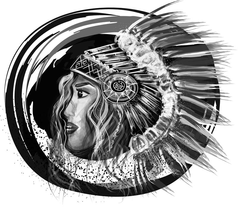 Künstlerische Indiana-Mädchenillustration, Abstraktion stockbilder