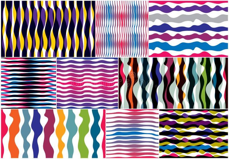 Künstlerische Kurvenlinien nahtlose Muster stellen ein, extrahieren buntes VE stock abbildung