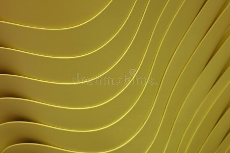 Künstlerische Kurvenlinien von angehäuft herauf Senfgelb-Farbplastikschüsseln, für Hintergrund stockbild
