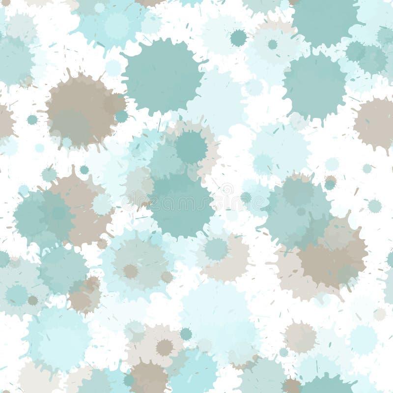 Künstlerische Tinte plätschern, Sprayflecken, die schmutzigen nahtlosen Stellenelemente Aquarellfarbe spritzt Muster, schmieren f lizenzfreie abbildung