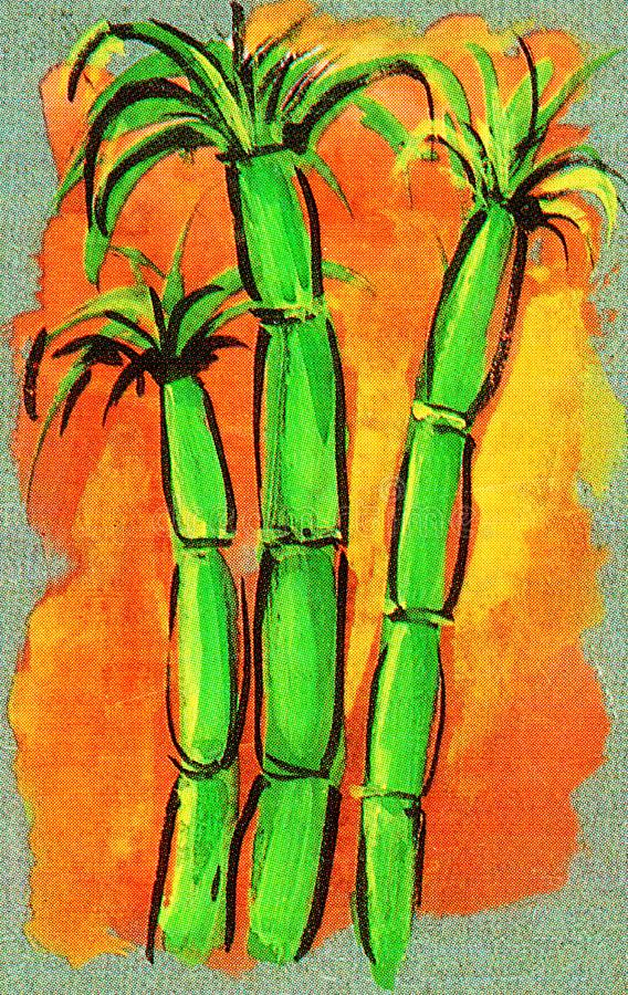 Künstlerische Wiedergabe von drei grünen Zuckerrohrstielen auf orange Hintergrund stock abbildung