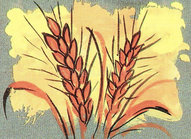 Künstlerische Wiedergabe von Weizenstielen stock abbildung